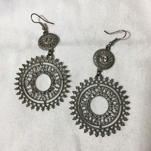 Jewelry - Silver spiked circular dangle earrings